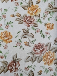 Vintage wallpaper with pink and brown roses