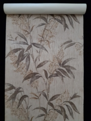 Vintage wallpaper with brown leaven