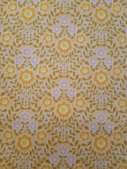Vintage wallpaper with brown-green, yellow and pink