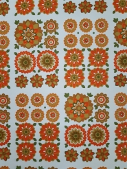 Vintage wallpaper with orange and green flowers