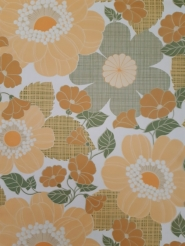Vintage wallpaper with big orange and green flowers