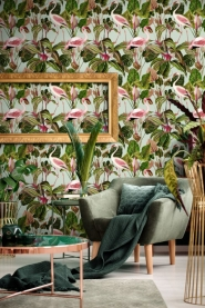 Premium wallpaper Beverly Hills Flamingo Mint