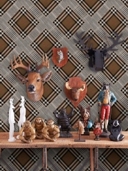 Premium wallpaper Checkered patchwork mid brown