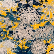 Premium wallpaper Chrysantemums grey yellow