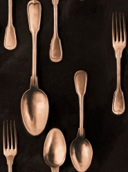 Cutlery wallpaper copper