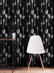 Cutlery wallpaper silver