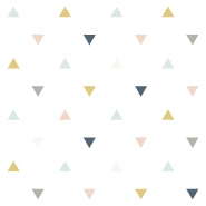 Lilipinso wallpaper triangles pink, grey, mustard, blue