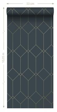 Art deco wallpaper dark blue with golden lines