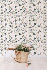 Lilipinso wallpaper little flowers green, pink