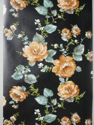 Vintage floral wallpaper with brown flowers on a black background