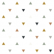 Lilipinso wallpaper triangles pink, grey, mustard