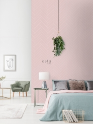 Pink-white chevron wallpaper