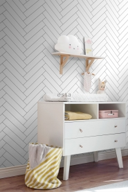White chevron wallpaper