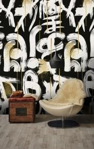 Premium wallpaper Gestural abstraction anthracite