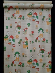 Vintage kids wallpaper brown, green, yellow and red