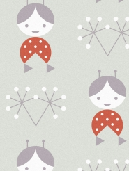 LAVMI wallpaper dolls on a grey background