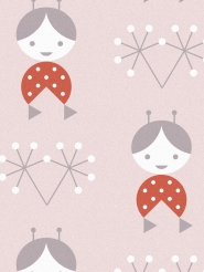 LAVMI wallpaper dolls on a pink background