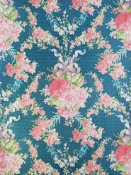 Blue and pink floral damask vintage wallpaper