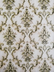Green beige damask vintage wallpaper