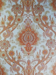 Orange floral damask vintage wallpaper