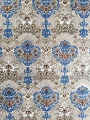 Blue beige gold damask vintage wallpaper