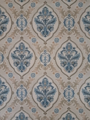 Beige blue classic vintage wallpaper