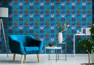 Premium wallpaper Neon kiss Blue