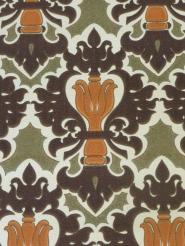 orange green brown damask wallpaper
