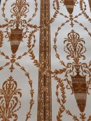 Brown beige vintage flock wallpaper with amphora