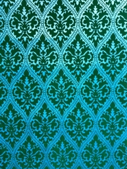 Green and blue vintage flock wallpaper