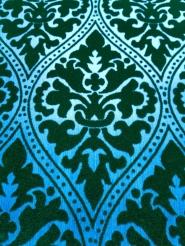 Green and blue vintage flock wallpaper