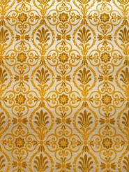 Yellow and green vintage flock wallpaper