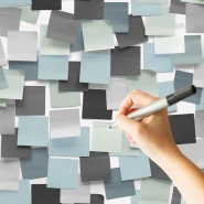 Erasable blue and grey post-it wallpaper