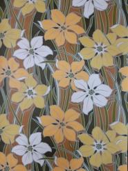 Papier peint vintage grandes fleurs blanc et jaune