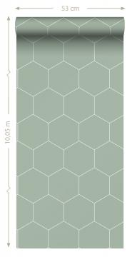 Green - white hexagon wallpaper