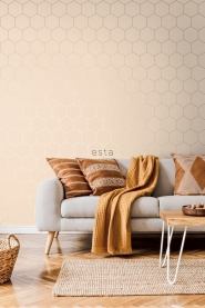 Beige-gold hexagon wallpaper