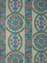 vintage floral wallpaper blue pink green