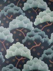 papier peint bleu foncé et vert-gris