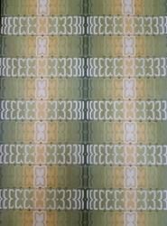 Papier peint vintage geometrique vert et jaune