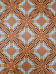Papier peint vintage geometrique orange, brun et jaune foncé