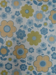vintage floral wallpaper blue yellow flowers