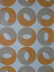 Vintage geometric wallpaper orange grey rings