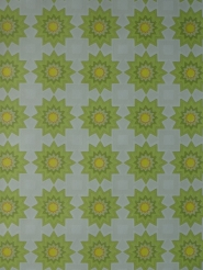 Vintage geometric wallpaper green and yellow sun