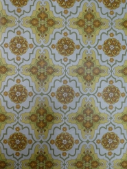 yellow green brown damask vintage wallpaper