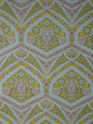 Pink, yellow and green floral damask vintage wallpaper