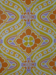 Yellow, purple and orange damask vintage wallpaper