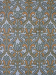 Grey orange floral damask vintage wallpaper