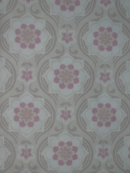 Grey pink damask vintage wallpaper