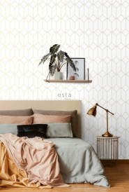 ESTA art deco wallpaper white with golden lines