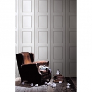 Grey white Haussmann panneling wallpaper